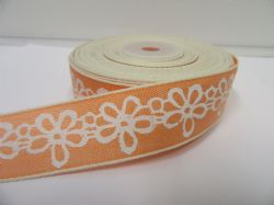 2 metres or 20 metre Roll 25mm Peach Pastel Colour Flower Print Ribbon Floral Cotton